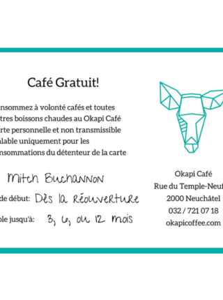 Okapi Coffee Voucher Gift for coffee lovers