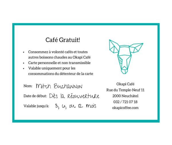 Okapi Coffee Voucher Gift for coffee lovers